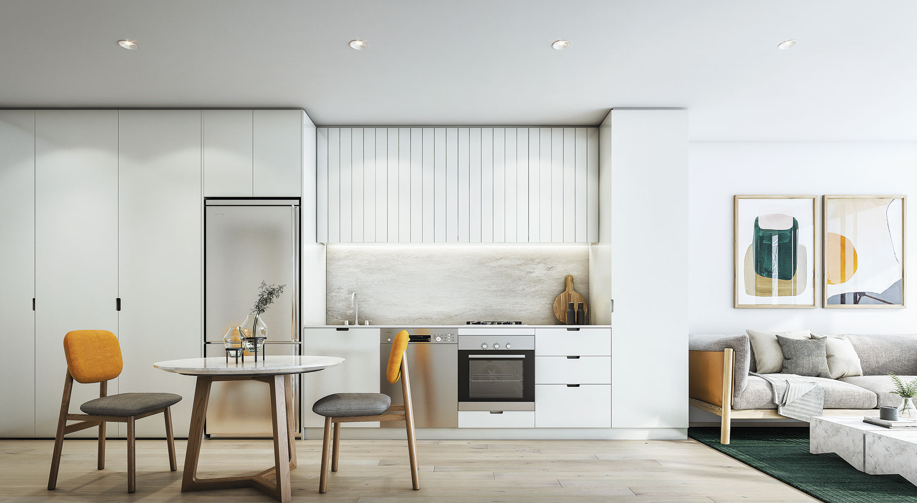 Liberty-One-Render-Footscray-Type-14-LVL21-Galley-Kitchen-Light